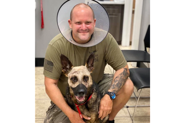 Deputy Scott Cronin and K-9 Vice both suffered knife wounds but are expected to fully recover. - Photo: Polk County (FL) Sheriff's Office