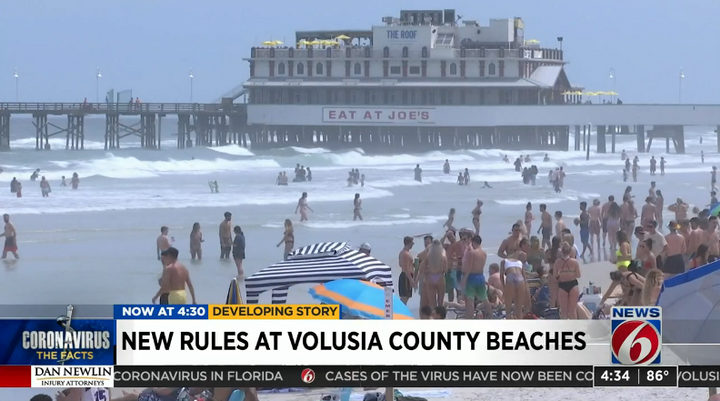 Young people are flocking to Florida beaches despite the coronavirus crisis. Police are being asked to enforce the governor's orders on social distancing. (Photo: Click Orlando Video Screen Shot) -