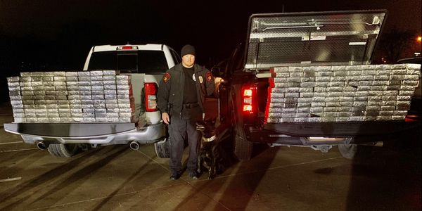Officer Pat Robey and his K-9 Stryker are credited with finding 595 pounds of meth. (Photo:...
