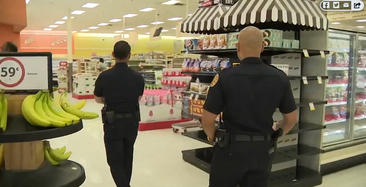 Miami officers went grocery shopping this week to help some of the area's seniors who are vulnerable to coronavirus. (Photo: Local 10 Screen Shot)  -