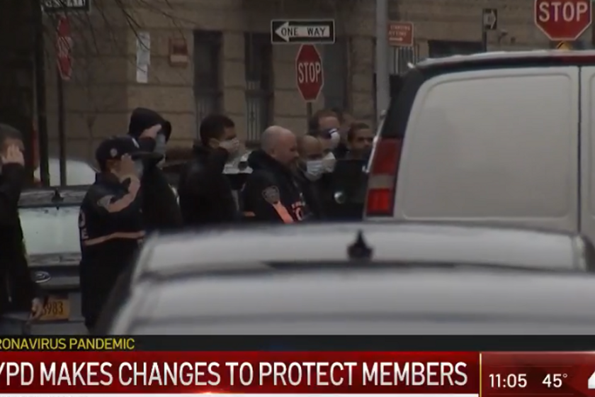 NYPD officers pay their respects to Detective Cedric Dixon who died Saturday of COVID-19...