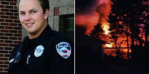 Sgt. Markus Tassoul of the Sturgeon Bay (WI) Police Department is being hailed as a hero for saving the life of a disabled man trapped in a burning apartment complex. - Photo: Sturgeon Bay (WI) Police Department / Facebook.