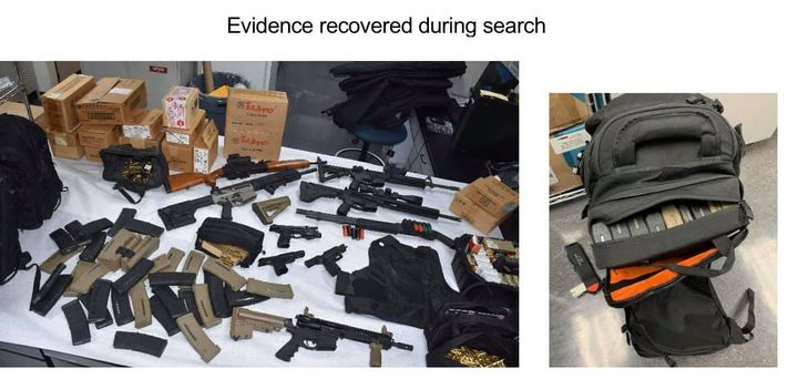 Sunnyvale, CA, detective executed a search warrant on the suspect's home and found a cache of weapons and ammunition. They also found body armor. (Photo: Sunnyvale DPS/Facebook) -