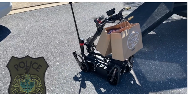 Officers used a robot to deliver lunch to a family to see if it would work—and it did.