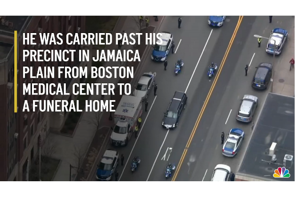 A funeral procession was held for Boston PD Officer Jose Fontanez, who died of COVID-19. - Photo: NBC Boston