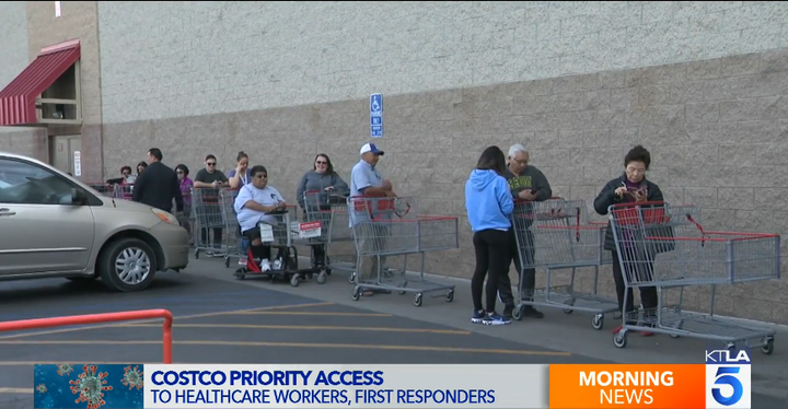 Costco is offering first responders and healthcare workers priority access to the stores. (Photo: KTLA screen shot) -
