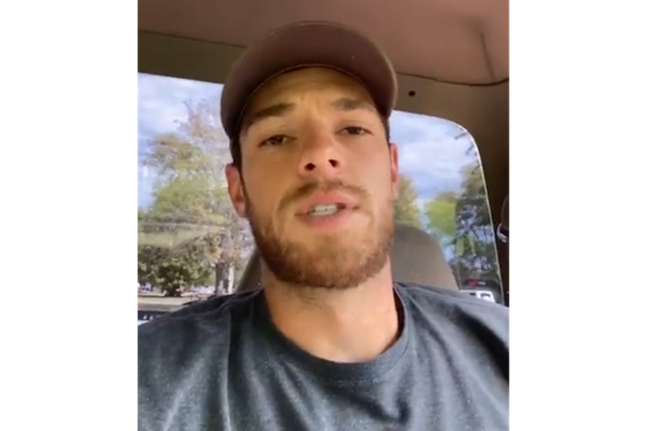 "New York Mets pitcher Steven Matz recorded a message of encouragement for Glen Ridge, NJ, Police Officer Charles ""Rob"" Roberts. He also invited Roberts and fellow officers to a future game. (Photo: Facebook) -"
