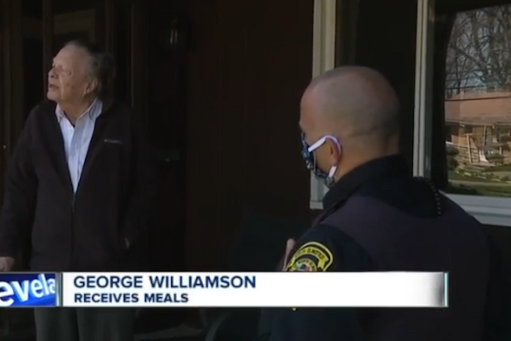 "Officer Jim Carbone of the North Olmsted (OH) Police Department partnered with ""Meals on Wheels"" to deliver lunch and dinner five days a week to at-risk populations during the health crisis. (Photo: ABC5 Screen Shot) -"