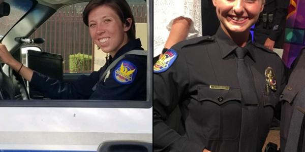 Phoenix police officers Alicia Hubert (left) and Marissa Dowhan were wounded in a Sunday night...