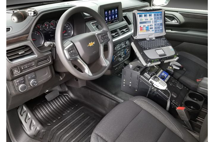 The interior of the 2021 Tahoe police vehicles is designed to make officers more comfortable with more space and improved ergonomics. -