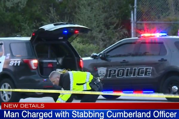 A man is facing assault charges after attacking and stabbing an officer with the Cumberland (RI) Police Department over the weekend. - Screen grab of WPRI-TV news report.