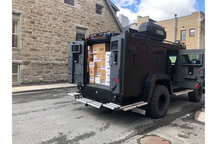 Lenco delivers personal protective equipment to the Pittsfield (MA) Police Department. (Photo: Pittsfield PD) -