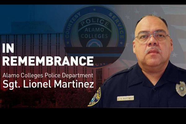 The Alamo Colleges (TX) Police Department has identified the officer who suffered a fatal heart attack while responding to a shooting Tuesday night as Sergeant Lionel Martinez, a 21-year veteran of the department. - Image courtesy of Alamo Colleges (TX) Police Department.