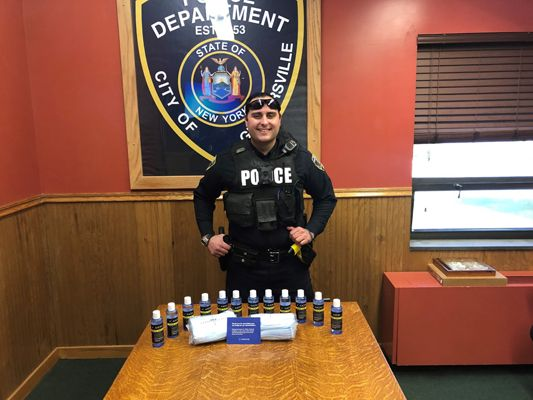 Officers with the Gloversville (NY) Police Department received on Wednesday afternoon a donation of face masks and hand sanitizer from a company that provides a variety of goods and services to law enforcement agencies across the country. - Image courtesy of the Gloversville (NY) Police Department / Facebook.