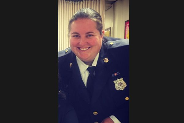 Officer First Class T. Hays—a fifth-generation police officer and a 15-year veteran—has returned to duty after being shot one year ago.  - Image courtesy of the Baltimore County Police Department.