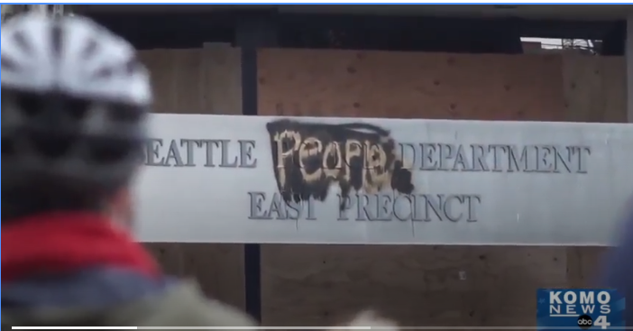 Protesters in a Seattle neighborhood have seized control of the streets and changed the name of the abandoned police station. (Photo: KOMO News Screen Shot) -