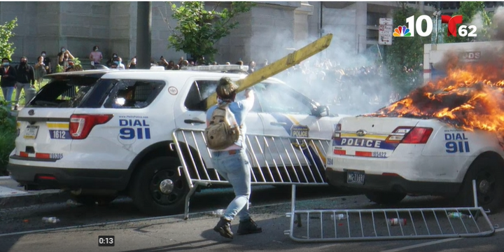 Lore-Elisabeth Blumenthal is accused of burning Philadelphia police vehicles during an anti-police protest on May 30. (Photo: NBC Philadelphia Screen Shot) -