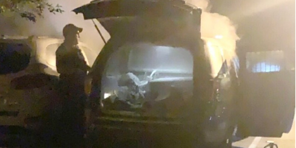A Gainesville, GA, officer's take-home vehicle was burned in his driveway. (Photo: Gainevsville PD)