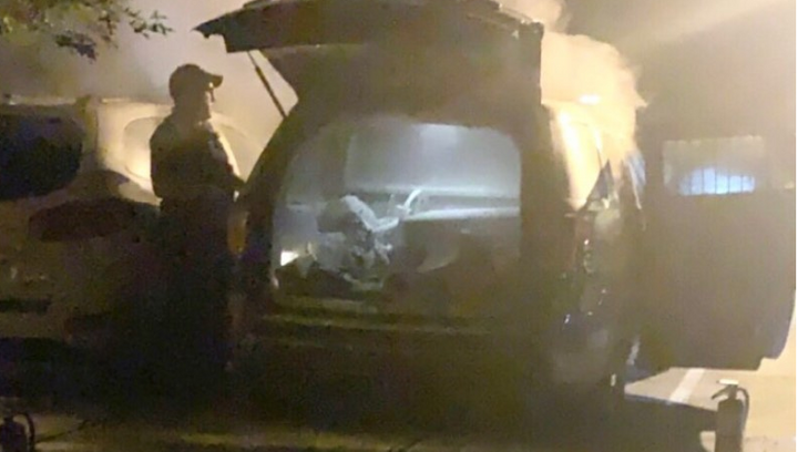 A Gainesville, GA, officer's take-home vehicle was burned in his driveway. (Photo: Gainevsville PD) -