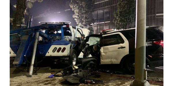 Two LAPD officer were badly injured in a wreck with a tow truck Wednesday night. (Photo: LAPD)