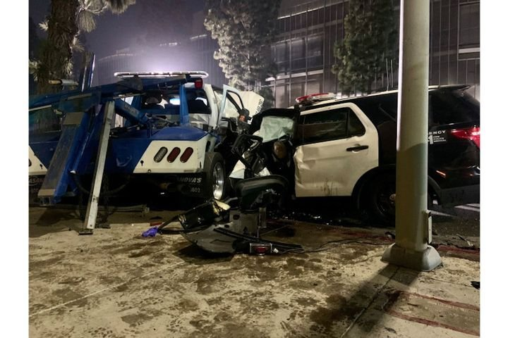 Two LAPD officer were badly injured in a wreck with a tow truck Wednesday night. (Photo: LAPD) -