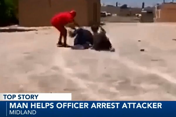 Civilians rushed to the aid of an officer with the Midland (TX) Police Department after he attacked a the officer and attempted to take his gun. - Screen grab of news report.