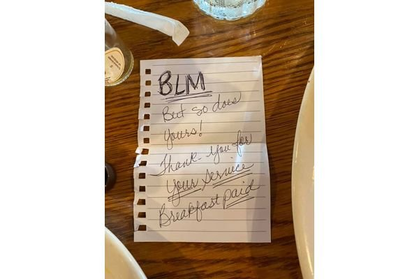 Deputy Jody McDowell of the Sumner County (TN) Sheriff's Office posted on Facebook an image of the note two women left for him after paying for his breakfast.  - Image courtesy of Deputy Jody McDowell / Facebook.