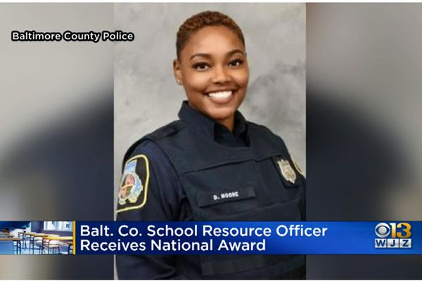 Officer Danielle Moore with the Baltimore County Department has been recognized with the 2020 National Association of School Resource Officers' Floyd Ledbetter National School Resource Officer of the Year Award. - Image courtesy of the Baltimore County Department.