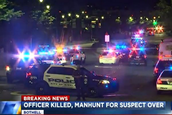 An officer with the Bothell (WA) Police Department was shot and killed and another shot and wounded after a traffic stop turned into a brief vehicle pursuit on Monday night. - Screen grab of news report.