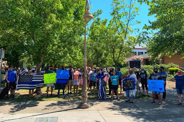A crowd of several dozen people gathered in front of the City Council Chambers in the Central Valley city of Chico (CA) to show support for law enforcement on Saturday morning. - Image courtesy of Chico (CA) Police Department / Facebook.