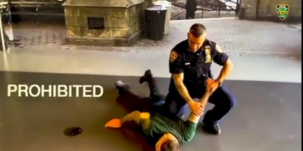 Image from new NYPD training video that show prohibited arrest and control technique. (Photo:...