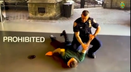 Image from new NYPD training video that show prohibited arrest and control technique. (Photo: Instagram Screen Shot) -