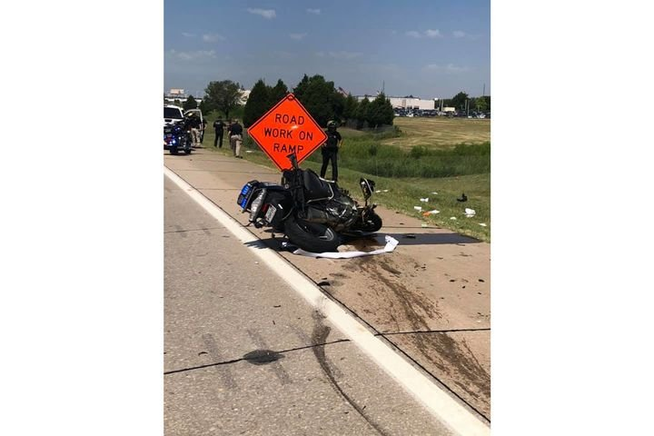 Three Oklahoma Highway Patrol troopers were seriously injured in motorcycle crashes during the procession for a slain Tulsa police sergeant Thursday. (Photo: OHP/Facebook) -