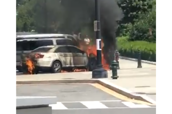 An unmarked US Supreme Court Police car was torched Wednesday. (Photo: Twitter) -
