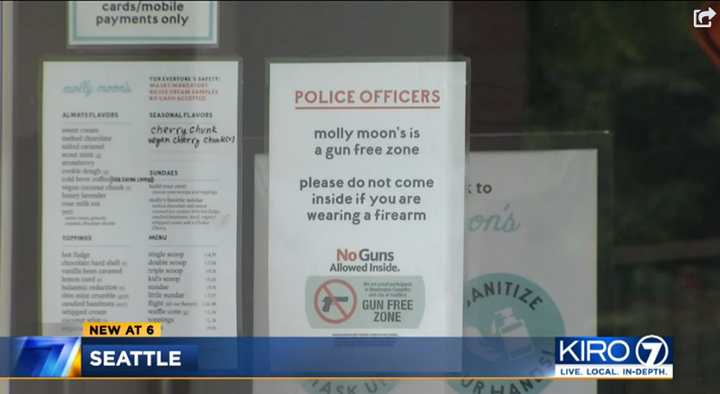 Armed Seattle police have been told they are not welcome at an area ice cream chain. (Photo: KIRO Screen Shot) -