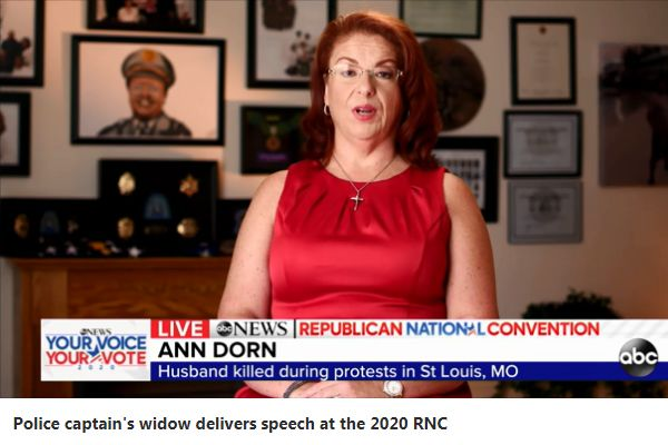 Ann Dorn—whose husband was David Dorn—used the time before the audience to support President Donald Trump's call to use federal officers to fight crime in cities. - Screen grab of news report.