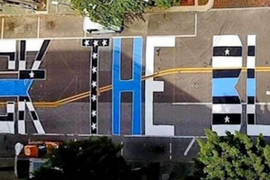 """""""Back the Blue"""" Painted Outside Tampa Police HQ"""
