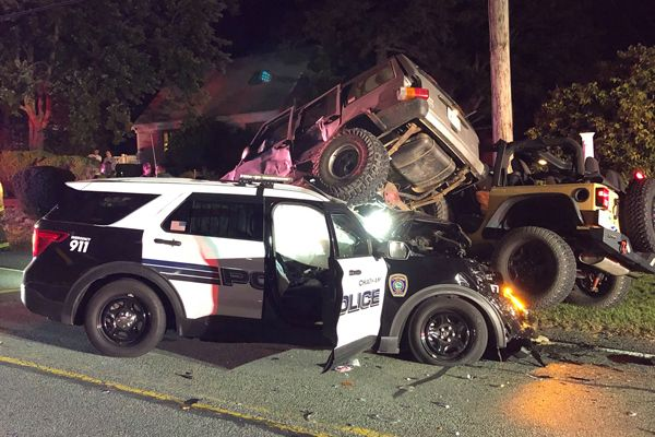 An officer with the Chatham Police Department was injured in a three-vehicle wreck Tuesday night. Two other motorists were injured in the incident, all with serious but non-life-threatening injuries. - Image courtesy of theChatham Police Department / Facebook.