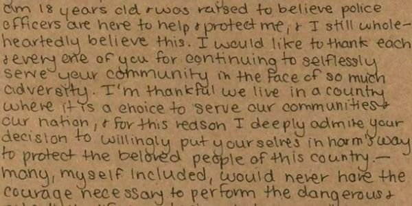 A teenager in West Virginia recently sent a hand-written letter of thanks to the members of the...