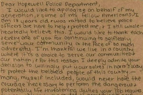 A teenager in West Virginia recently sent a hand-written letter of thanks to the members of the Hopewell Police Department. - Screen grab of news report.
