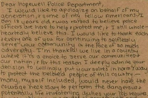West Virginia Teen Writes Letter of Thanks to Police Department