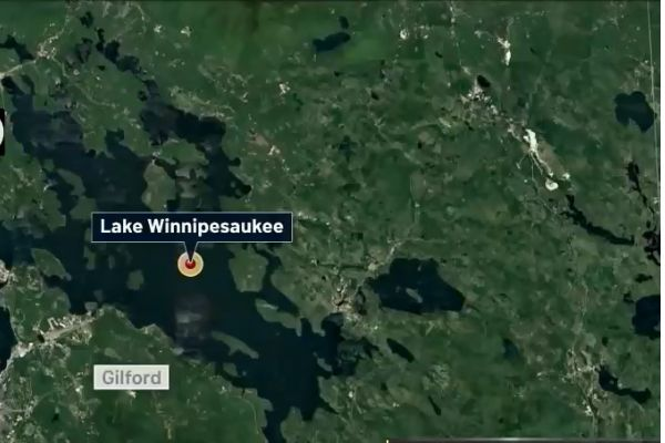 An off-duty officer with the Stoneham (MA) Police Department took a vacation from his vacation and rescued the pilot of an aircraft after it crashed into Lake Winnipesaukee in New Hampshire. - Screen grab of news report.