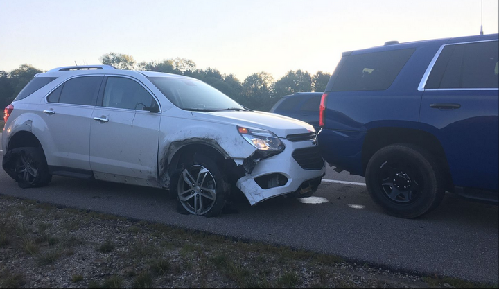 A Michigan state trooper used his vehicle to stop the vehicle of a man having a stroke. (Photo: MSP) -