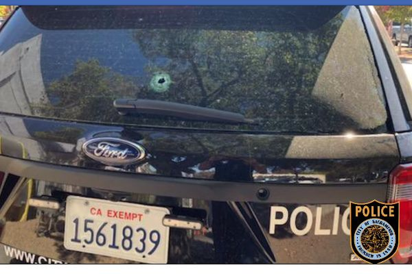 A gunman fired on a sergeant who had responded to a home following a call of a suicidal subject armed with a gun, striking the sergeant's patrol car several times. - Image courtesy of Sacramento Police Department / Facebook.