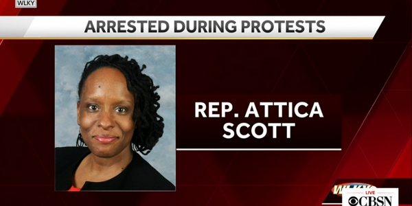 Kentucky state Rep. Attica Scott was booked Thursday evening on one count of unlawful assembly,...