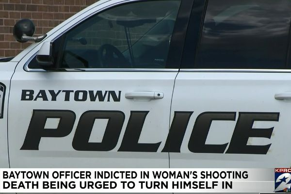 An officer with the Baytown (TX) Police Department was indicted on a charge of first-degree aggravated assault by a public servant on Monday in connection with the fatal shooting of a woman in May 2019 - Screen grab of news report.