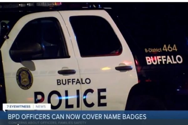 Officers with the Buffalo (NY) Police Department will no longer be required to display their names on their uniforms as the agency as issued new policy on the matter. - Screen grab of news report.