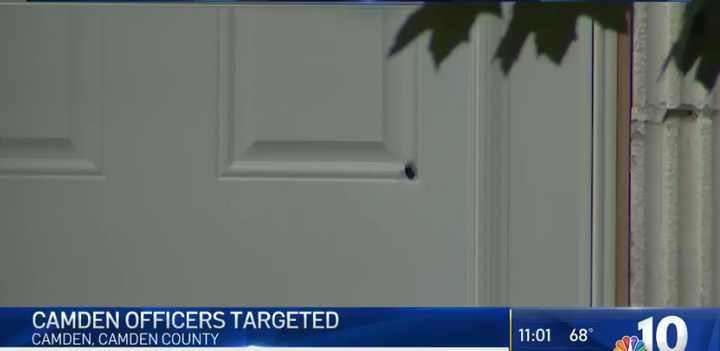 Shots were fired Tuesday night at the home of two married Camden County, NJ, police officers. (Photo: NBC Screen Shot) -