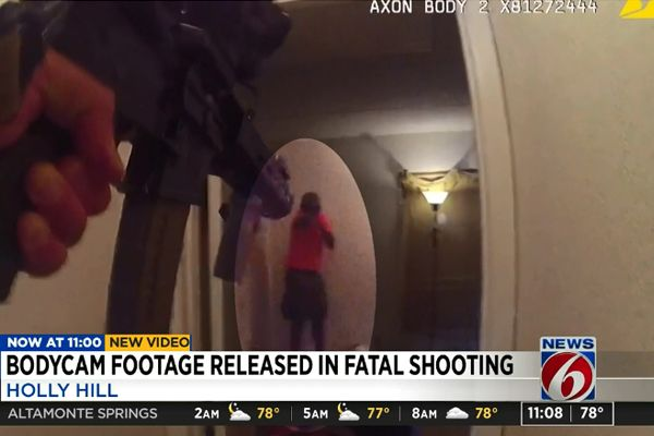 The Daytona Beach Police Department has released body-camera video of a fatal officer-involved shooting during which an officer was shot in the chest and saved by his ballistic vest. - Screen grab of news report.