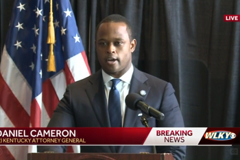 Kentucky Attorney General Daniel Cameron gives a statement on the findings of the grand jury and...